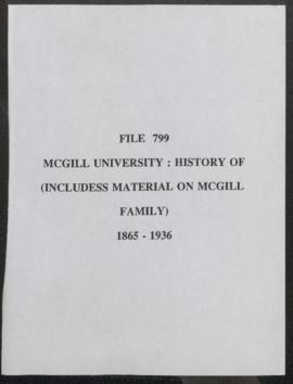 McGill University: History of (Includes Material on McGill Family)
