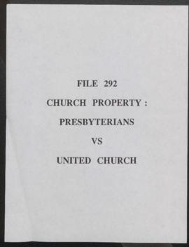 Church Property Commission : Presbyterians vs. United Church