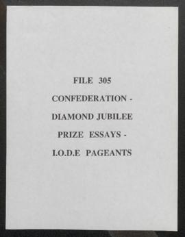 Confederation - Diamond Jubilee, Prize Essays - Imperial Order Daughters of the Empire Pageants