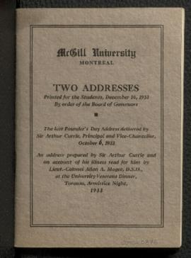 Two Addresses, Founder's Day Convocation, 1933
