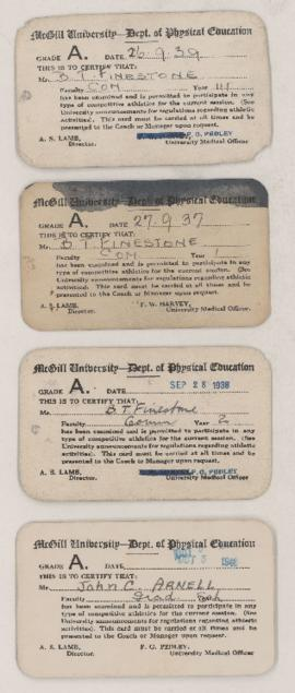 McGill Department of Physical Education certification cards