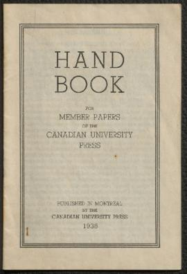 Hand book for member papers of the Canadian University Press