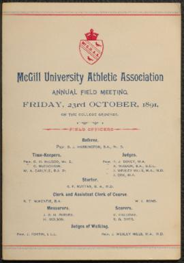 Programme for McGill University Athletic Association annual field meeting, 1891