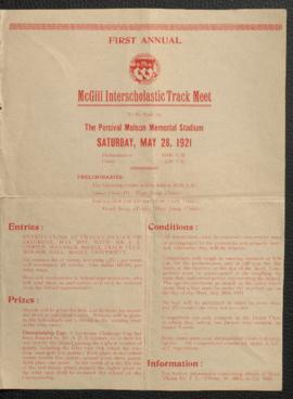 Flyer about the first annual McGill interscholastic track meet