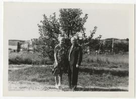 Ethel and Herbert Renouf at beach house, Percé