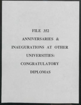 Anniversaries & Inaugurations at other Universities : congratulatory diplomas