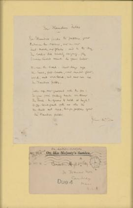 Letter from John McCrae to Carleton Noyes, with poem, In Flanders Fields