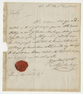 Letter from Sir Alexander Mackenzie to Simon McTavish, 5 August 1792