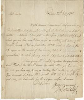 Letter from William Lindsay to Simon McTavish, 24 July 1795