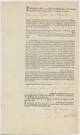 Voyageur contract for Pierre Lezotte of Maska