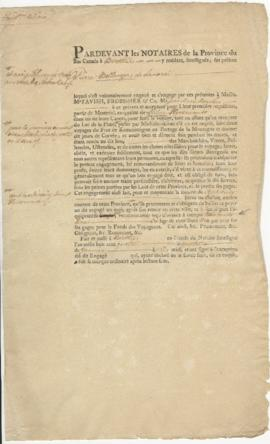 Voyageur contract for Pierre Bellager of Lanoraie