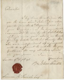 Letter from John Fraser to Simon McTavish, 9 September 1796