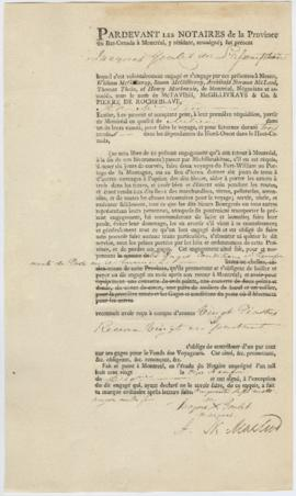 Voyageur contract for Jacques Goulet of l'Assomption