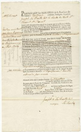 Voyageur contract for Joseph La Treille dit La Lande of Cote St. Vincent St. Benoit