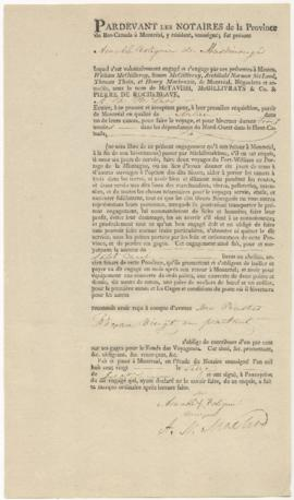 Voyageur contract for Amable Volignie of Maskinonge