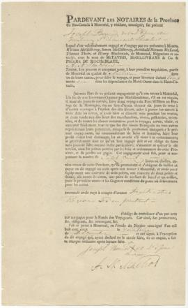 Voyageur contract for Joseph Berrard dit L'Epine of Faubourg St. Laurent of Montreal