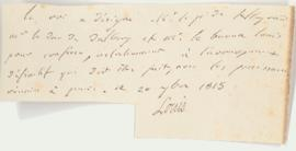 Note signed by King Louis XVIII