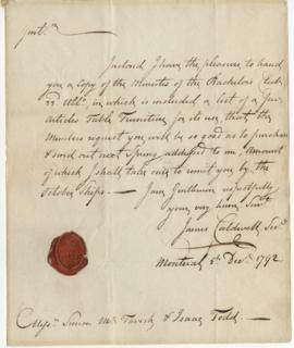 Letter from James Caldwell to Simon McTavish, 5 December 1792