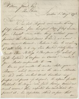 Letter from Brickwood, Pattle, & Co. to William Grant