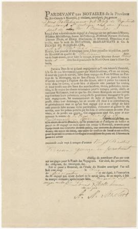 Voyageur contract for Louis Bellehumeur dit Blass of Montreal Faubourg St. Antoine at his brother...