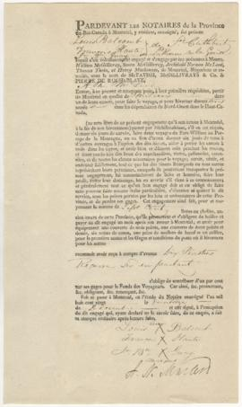 Voyageur contract for Louis Balcomb, Francois Plante of St-Cutbert, and Jean-Baptiste Quay of La ...