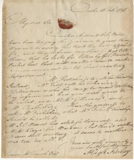 Letter from Hugh Finlay to Simon McTavish, 16 February 1797