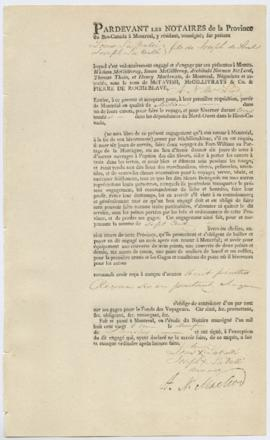 Voyageur contract for Louis La Valle[e] Joseph La Valle[e] sons of Joseph of Sorel