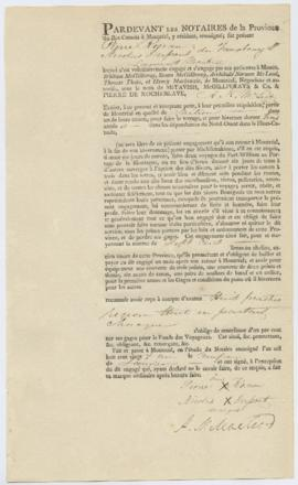 Voyageur contract for Pierre Rousseau, Nicolas Dupont of Faubourg St. Laurent