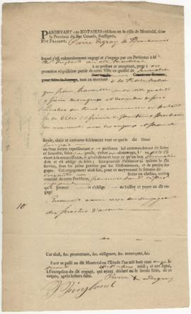 Voyageur contract for Pierre Degray of Beauharnois