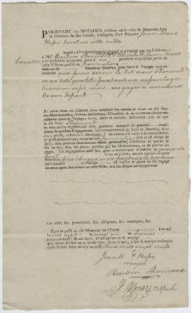 Voyageur contract for Jean-Marie Hupé of Montreal