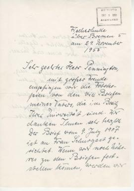 Letter to Richard Pennington